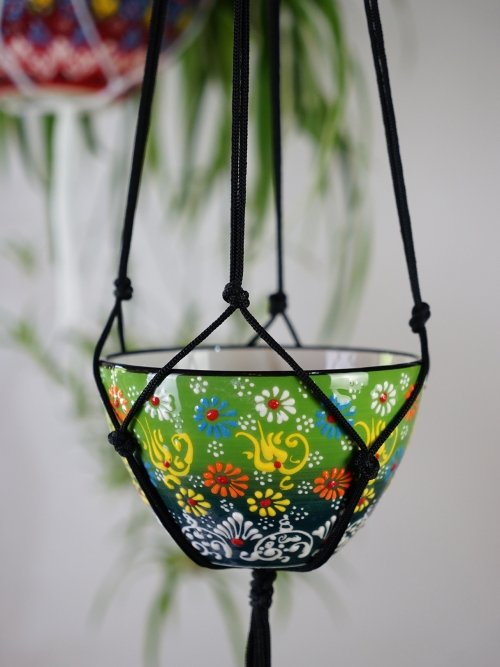 lime green hand painted hanging pot