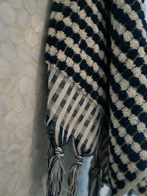 Navy Blue and Cream Bath Towel 100% Cotton close up