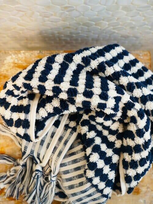 Navy Blue and Cream Bath Towel 100% Cotton on stool