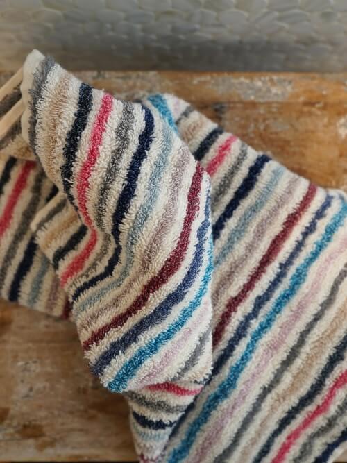 Pastel Striped Hand Towel 100% Cotton Close up