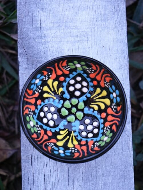 5 cm hand painted Turkish bowl black