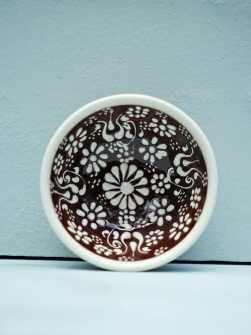 Brown 5cm White Lace Hand Painted Ceramic bowls