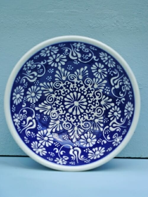 Dark Blue 10cm White Lace Hand Painted Ceramic dipping bowls