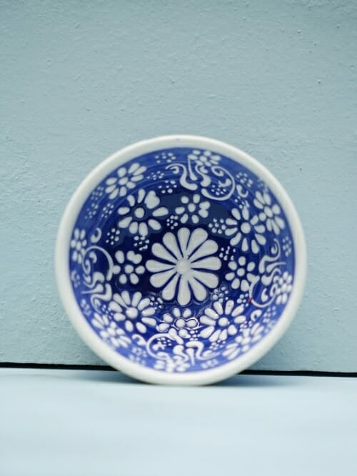 Dark Blue 5cm White Lace Hand Painted Ceramic bowls