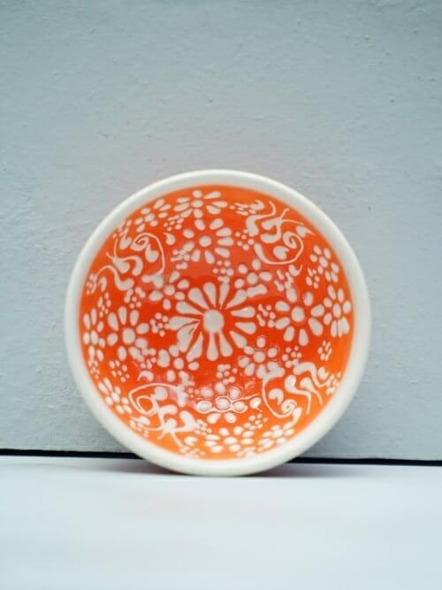 Orange 5cm White Lace Hand Painted Ceramic bowls