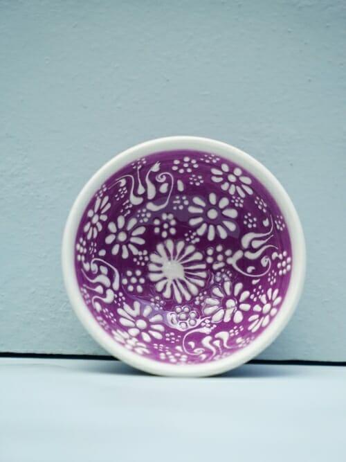 Purple 5cm White Lace Hand Painted Ceramic bowls
