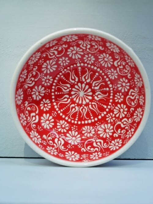 Red 15cm White Lace Hand Painted Ceramic dipping bowls