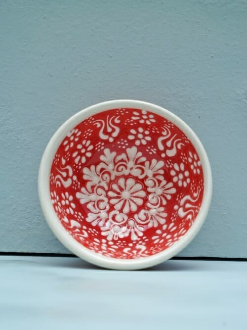 Red 5cm White Lace Hand Painted Ceramic bowls