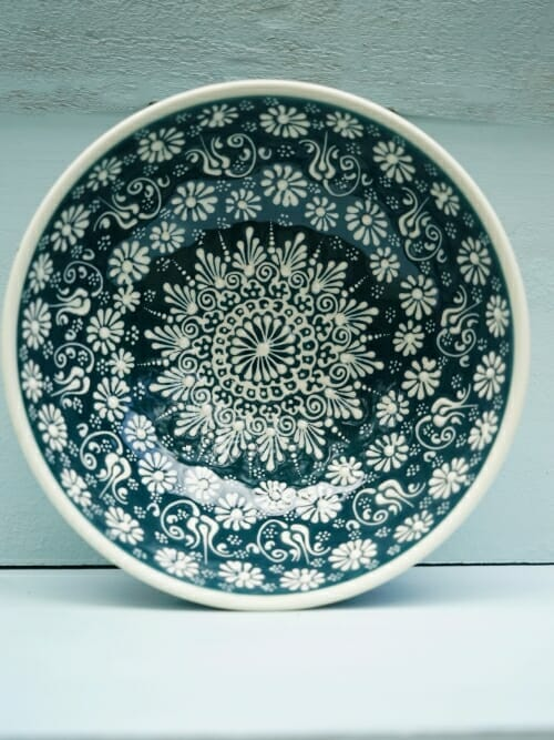 Sea Green 20cm Soup White Lace Hand Painted Ceramic bowls