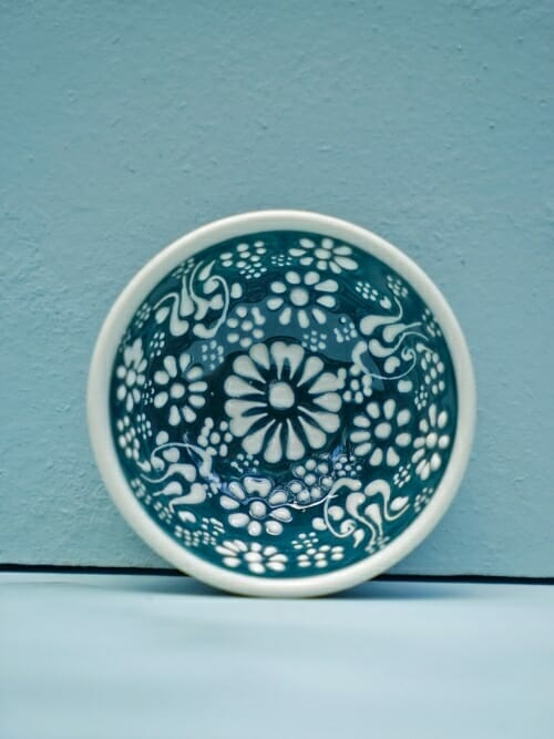 Sea Green 5cm White Lace Hand Painted Ceramic bowls