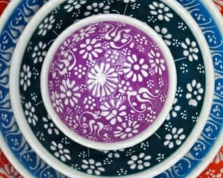 Set of 4 close up 20cm Soup White Lace Hand Painted Ceramic bowls