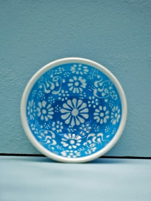Sky Blue 5cm White Lace Hand Painted Ceramic bowls