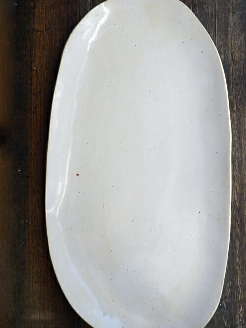 White handmade stoneware platter whole