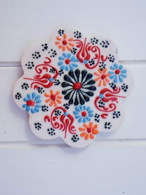 hand painted ceramic Turkish coaster white