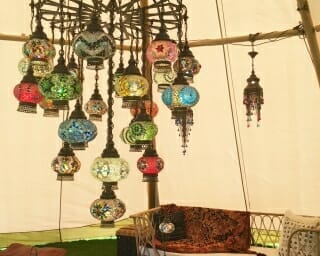 25 piece mosaic chandelier tipi distance