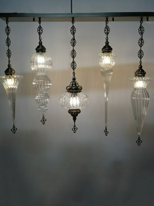 5 piece hand blown glass bar chandelier side view