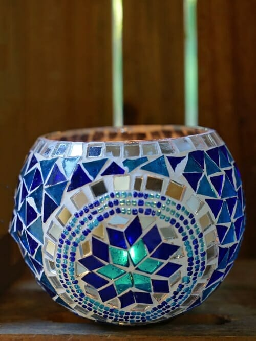 Blue 11cm mosaic candle holder day candle on