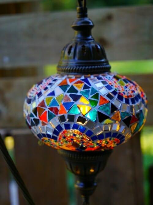 Large half star mosaic table lamp