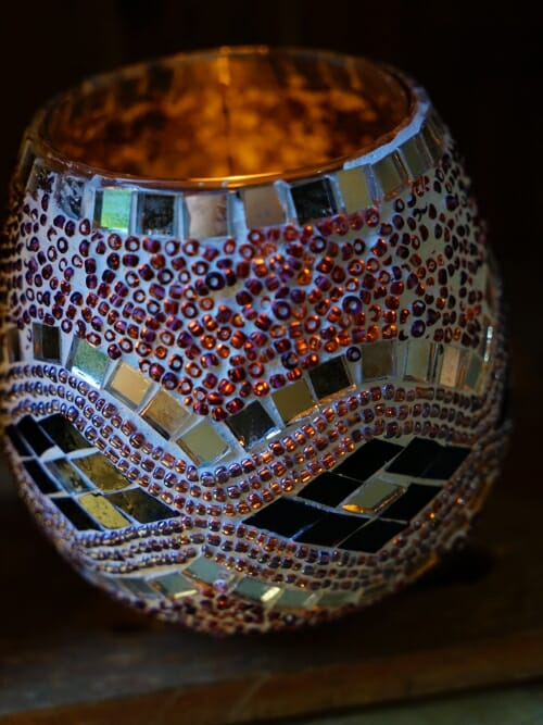 Purple 11cm mosaic candle holder day candle on vertical