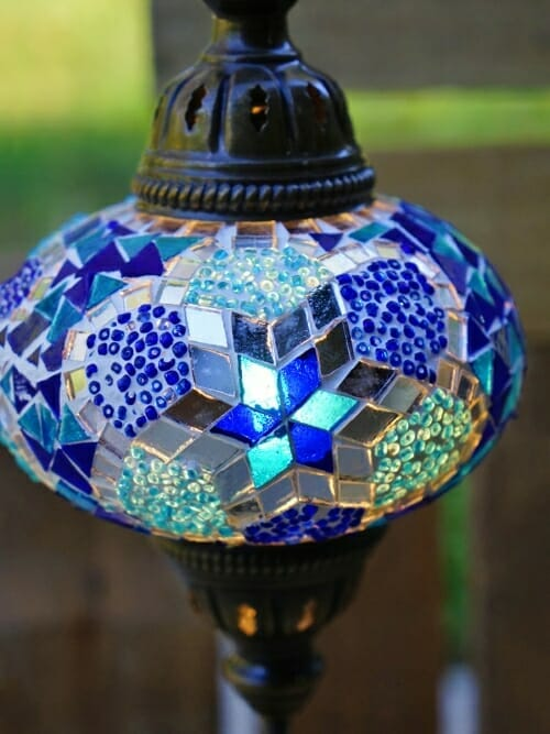 blue large mosaic table lamp