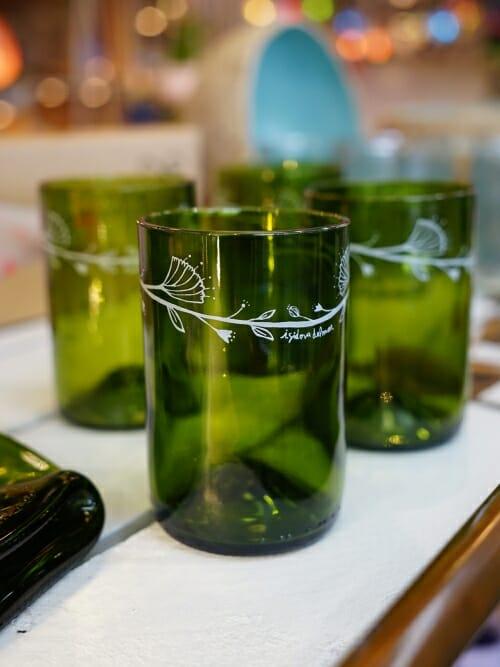 Green water glasses reclaimed bottles