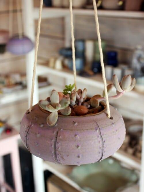 large matte purple sea urchin hanging planter