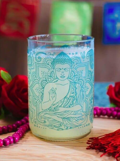 Buddha - OM Reclaimed Bottle Printed Drinking Glasses