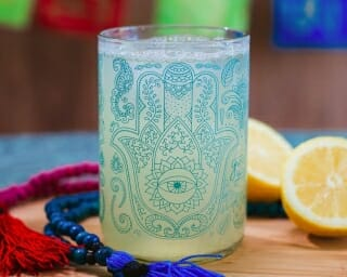 hand of fatima -OM Reclaimed Bottle Printed Drinking Glasses