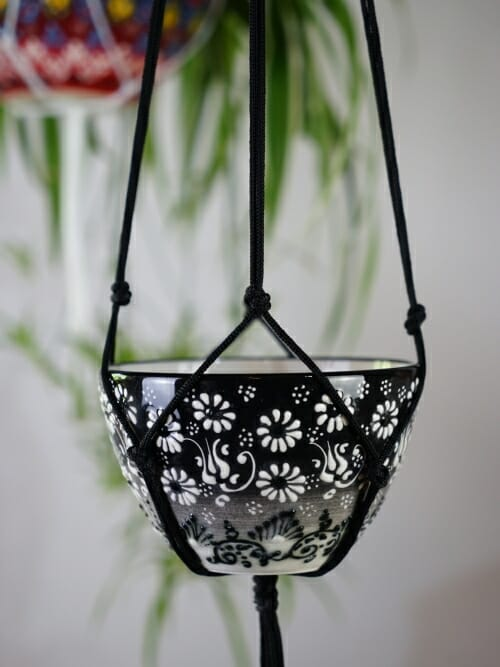 black ceramic hand painted hanging pot plant holder small