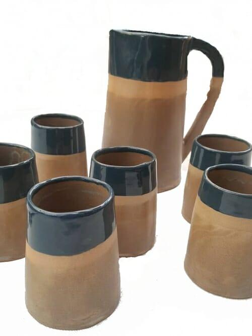 green ceramics water jug and 6 cUPS