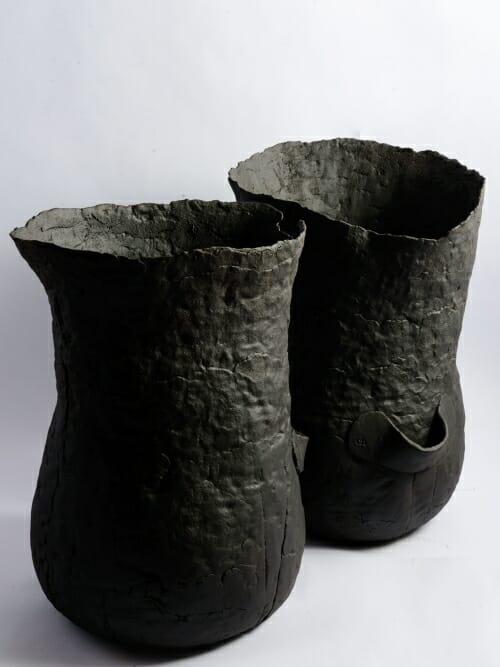 handmade ceramic sculptural vessel the bag matte black side by side