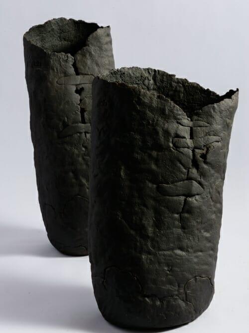 handmade ceramic sculptural vessel the vase matte black side by side