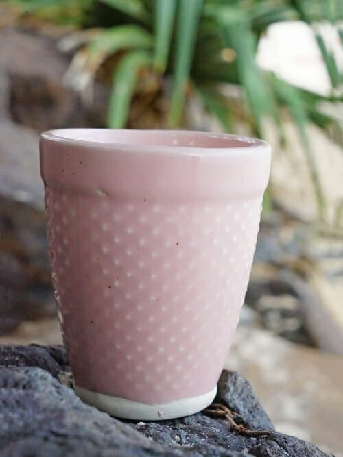 pink hand painted ceramic cup cone