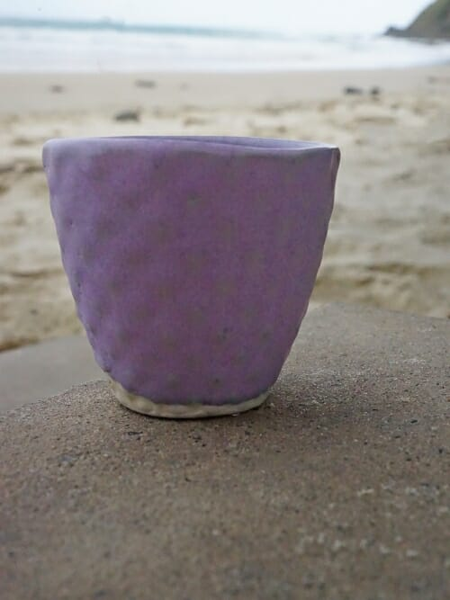 purple hand painted ceramic cup diamond