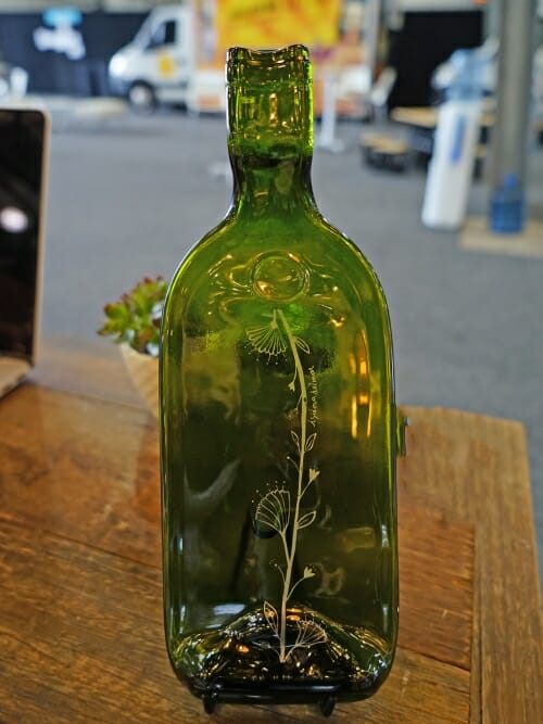 recycled glass bottle tray on table