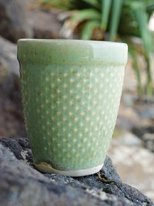 vintage green hand painted ceramic cup cone
