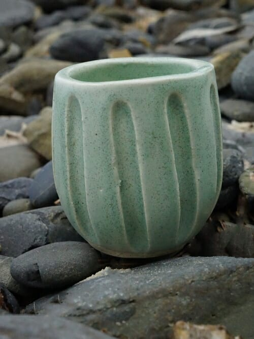 vintage green hand painted ceramic cup curve stones