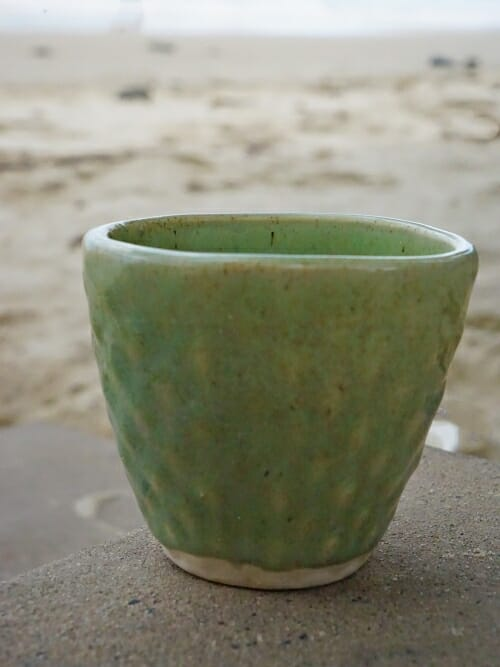 vintage green hand painted ceramic cup diamond