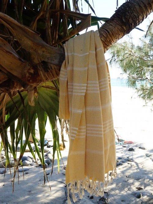Vintage Yellow Turkish Towel on tree
