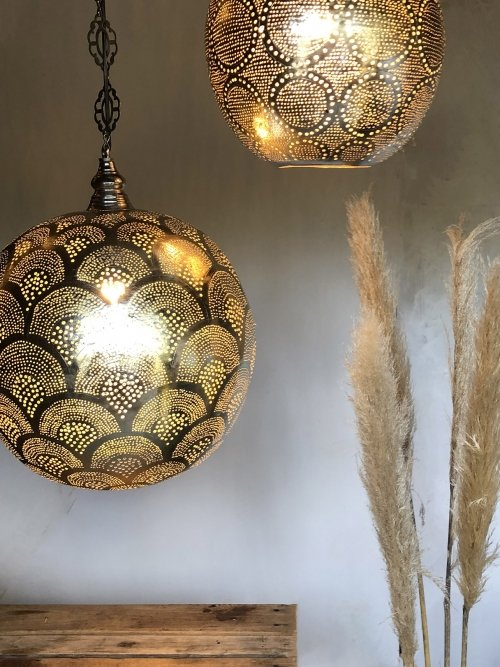 2 50cm hand punched Egyptian pendant lights