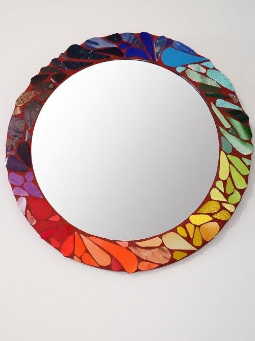 hand painted colour wheel mosaic mirror