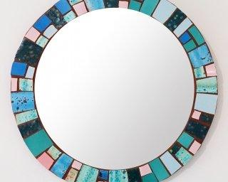 hand painted coral ocean mosaic mirror