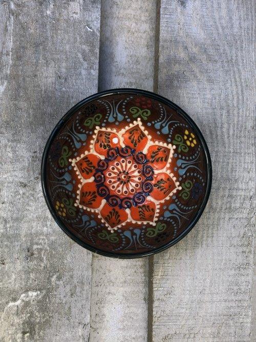 10 cm Hand painted Turkish ceramic dipping bowl brown to orange