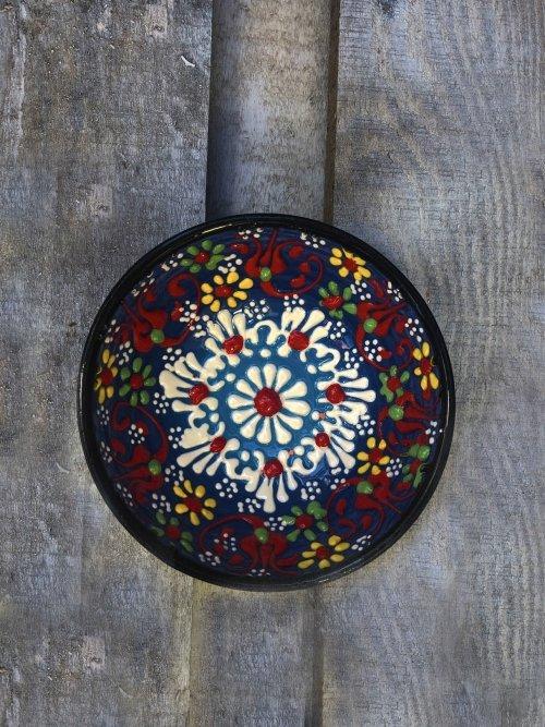 10 cm Hand painted Turkish ceramic dipping bowl dark blue