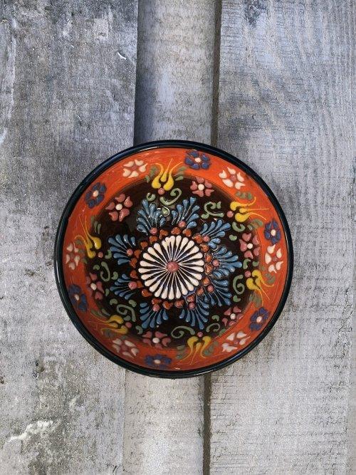 10 cm Hand painted Turkish ceramic dipping bowl orange to brown