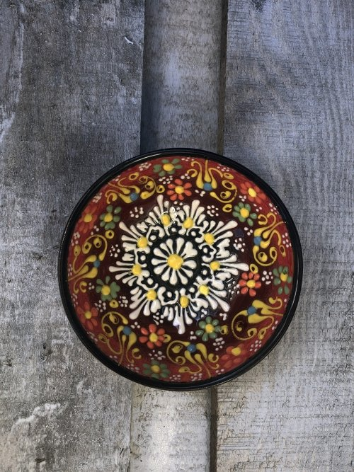 10 cm Hand painted Turkish ceramic dipping bowl red