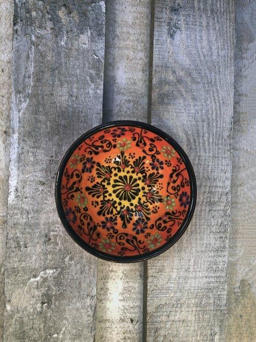 10 cm Hand painted Turkish ceramic dipping bowl sunrise orange to yellow