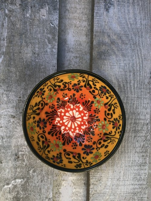 10 cm Hand painted Turkish ceramic dipping bowl sunset yellow to orange