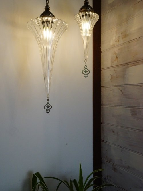 Small and Large Audrey Hand Blown Glass Pendant Light close up