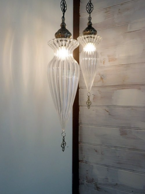 Small and Large Thelma hand blown glass pendants together